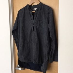 Gap Blue Polka Dot 3/4 Sleeve Hi/Lo Cotton Tunic
